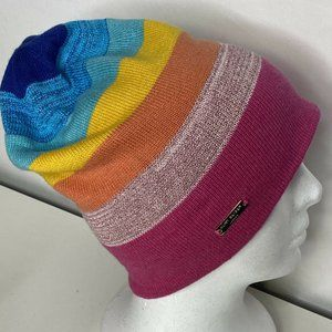 Kurt Geiger London Rainbow Lurex Ribbed Slouchy Beanie Multi-Colored NWOT